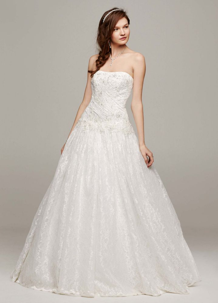 David 39 s bridal strapless all over beaded lace wedding for All over beaded wedding dress