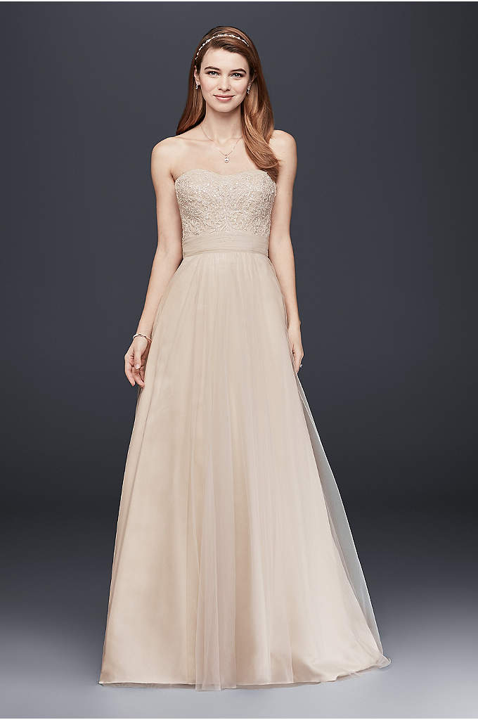 Strapless A-Line Beaded Lace Tulle Wedding Dress - This elegant and timeless A-line wedding dress features