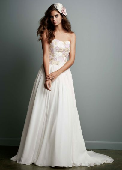 Strapless Chiffon Ball Gown with Watercolor Lace WG3620