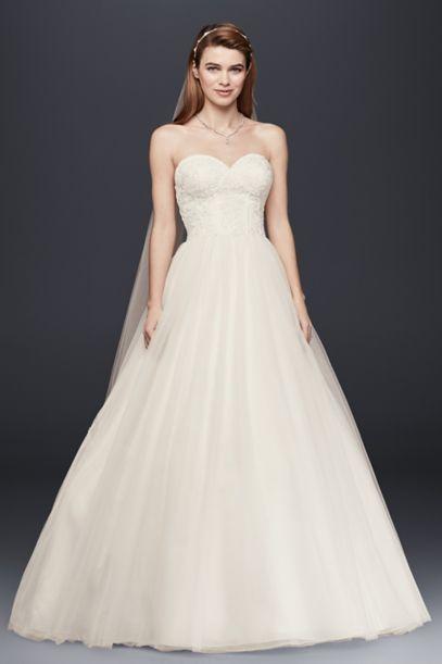 Strapless Wedding Dress with Lace Corset Bodice - Davids Bridal