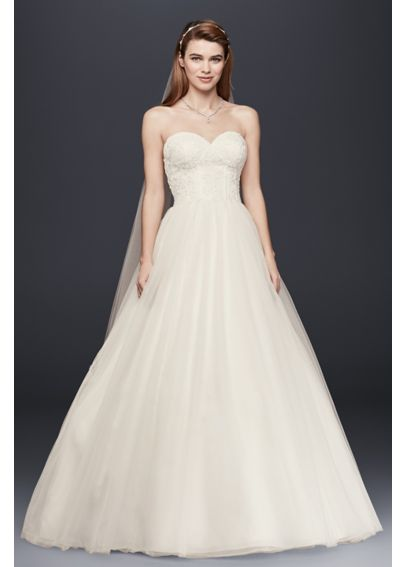 Strapless Ball Gown with Lace Corset Bodice WG3633
