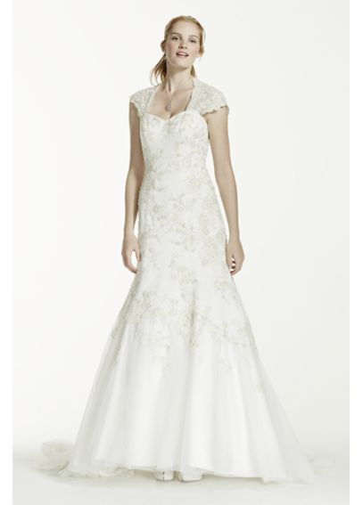 Tulle Over Satin Cap Sleeve Trumpet Wedding Dress WG3640