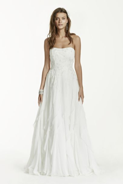 Strapless A-Line Chiffon Ruffled Wedding Dress | David's Bridal