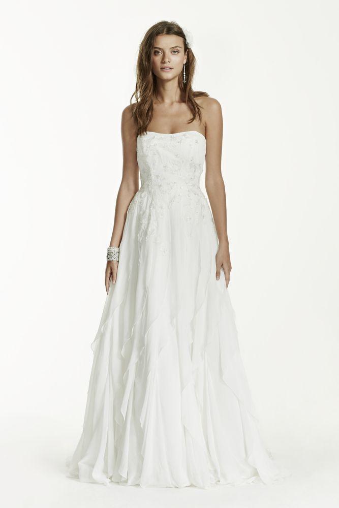 David 39 s bridal strapless a line chiffon wedding dress with David s bridal strapless wedding dress