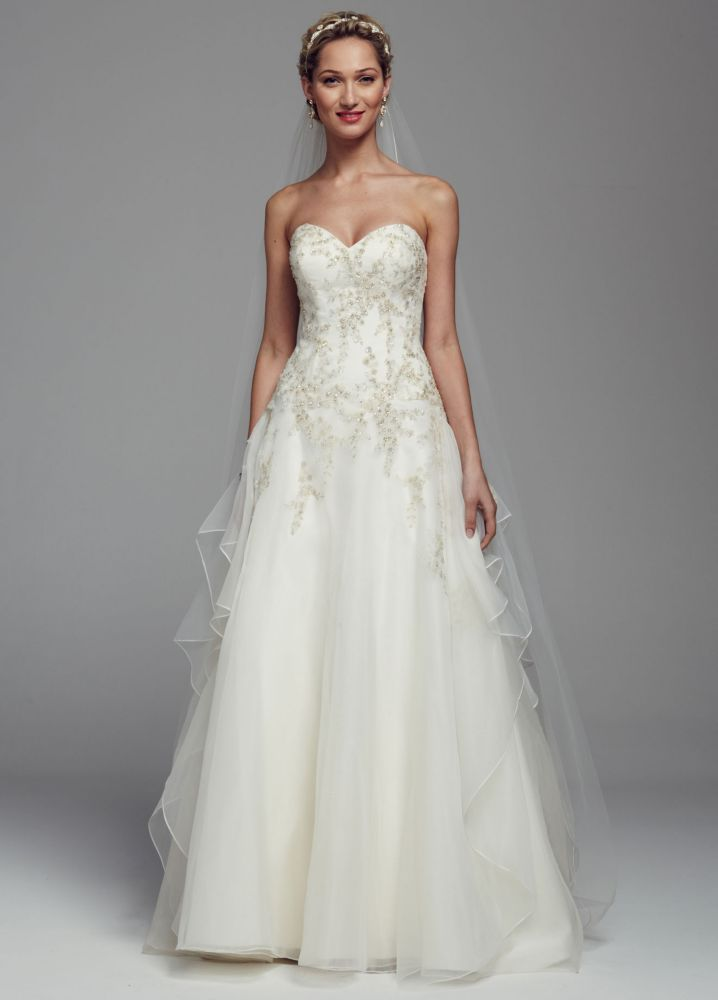 David 39 S Bridal Strapless Beaded Organza Ball Gown Wedding