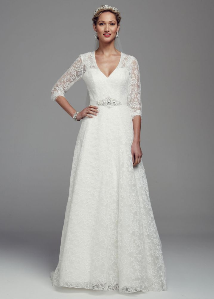 David 39 s bridal all over lace a line wedding dress with 3 4 for David s bridal lace wedding dress