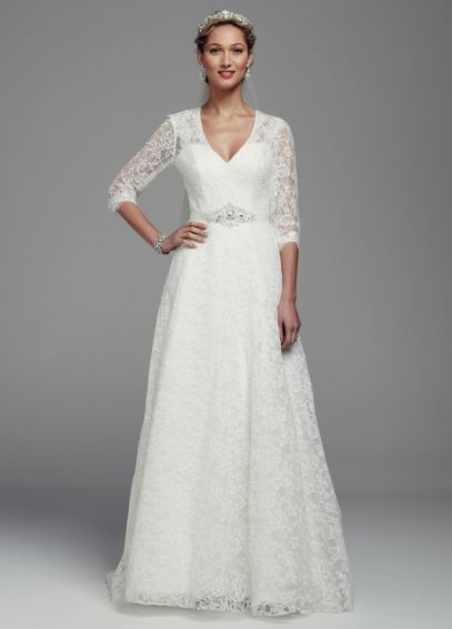 All Over Lace A-Line Gown with 3/4 Sleeves WG3670