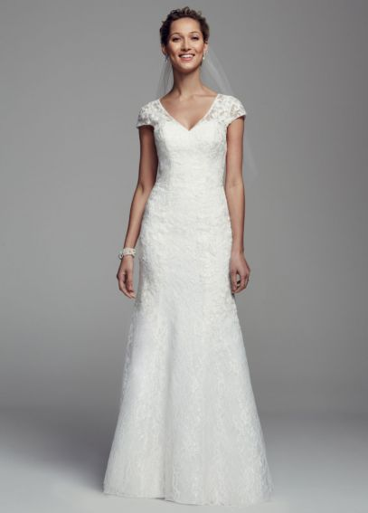 Cap Sleeve All Over Lace Trumpet Gown WG3683