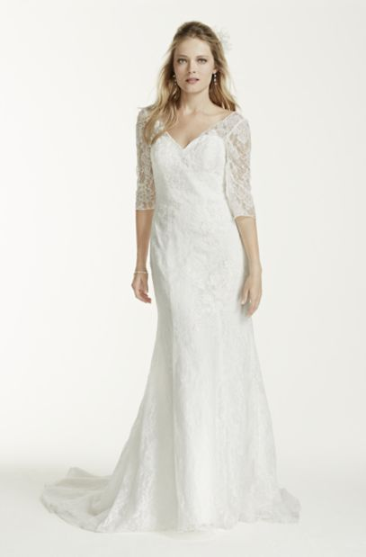 3/4 Sleeve All Over Lace Trumpet Wedding Dress | David's Bridal