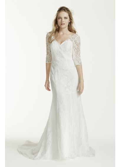 3 4 sleeve all over lace trumpet wedding dress davids bridal for David bridal rental wedding dresses