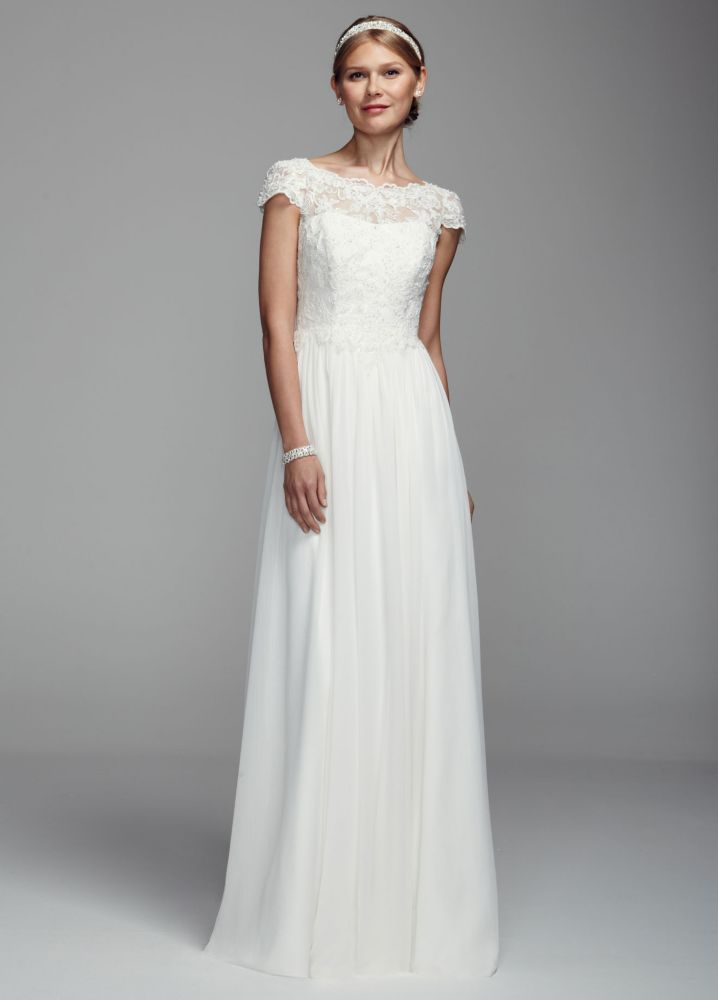 David 39 s bridal cap sleeve chiffon sheath wedding dress for Lace wedding dress davids bridal