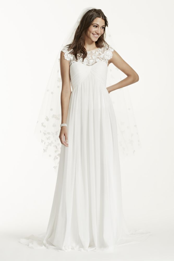 Galina Wedding Dress Cap Sleeve Chiffon A Line With Floral Applique Style WG3698
