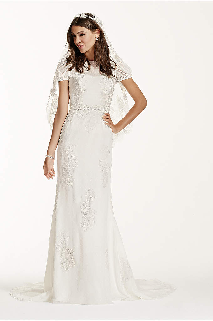 Short Sleeve Dotted Chiffon Sheath Gown - Truly a stunning and elegant gown for the
