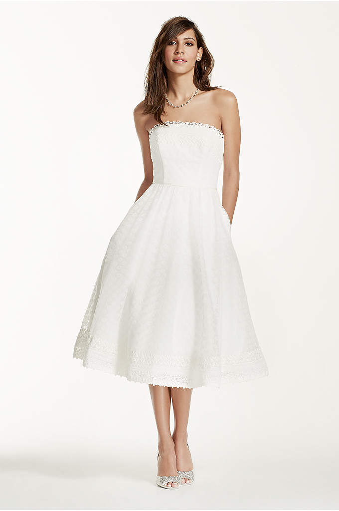 Strapless Tea Length Dress with Raschel Lace