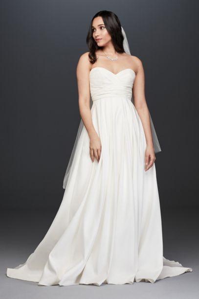 Pleated Strapless Wedding Dress With Empire Waist Davids