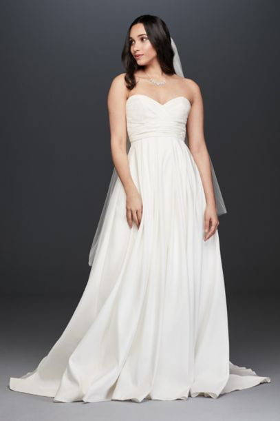 Pleated Strapless Wedding Dress with Empire Waist | David's Bridal