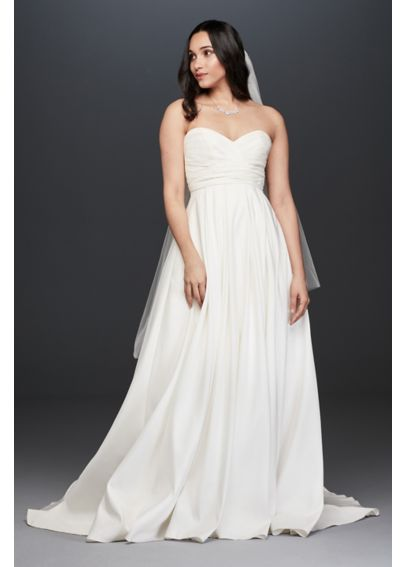 Pleated Strapless Wedding Dress with Empire Waist WG3707