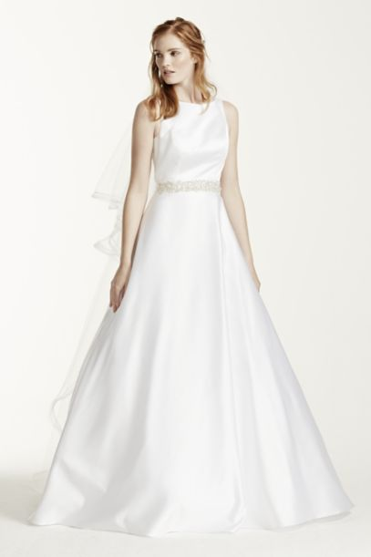 High Neck Satin Wedding Dress with Open Back | David's Bridal