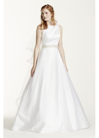 High Neck Satin Wedding Dress with Open Back  WG3710