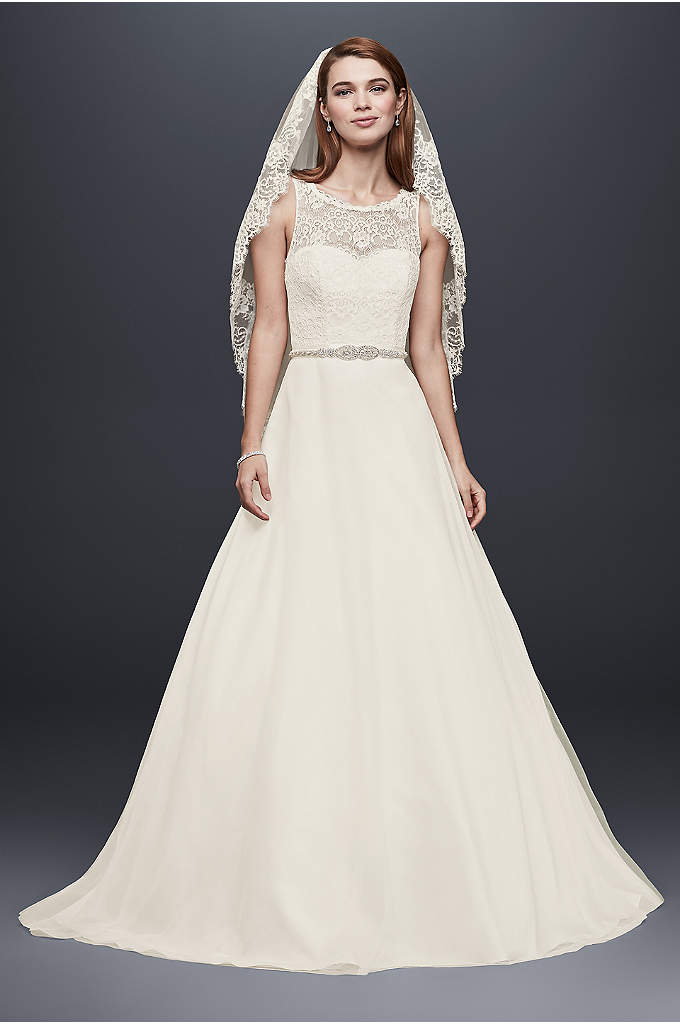 Illusion Lace Tank Wedding Dress with Tulle Skirt - Your guests won't be able to take their