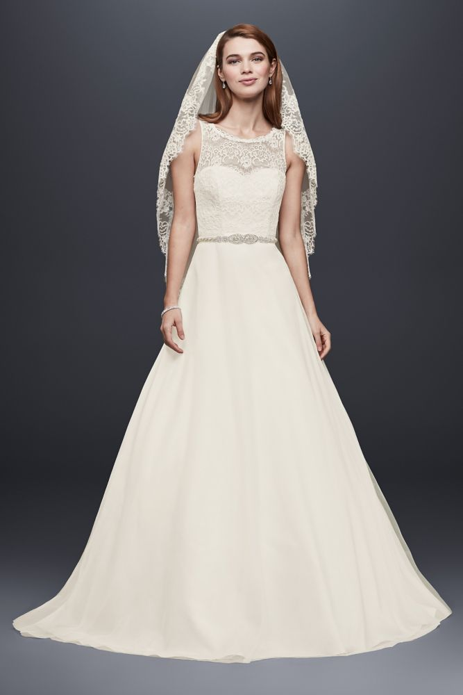 Simple Wedding Dress Accessories : David s bridal illusion lace tank wedding dress with tulle