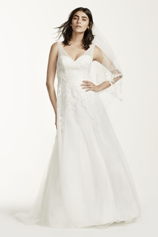 David's Bridal Tulle Wedding Dress with Floral Lace ... - photo #27