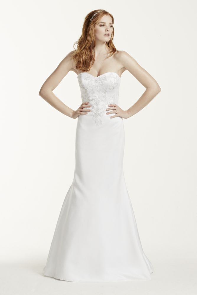 David S Bridal Satin Sweetheart Wedding Dress With Lace Applique Style Wg3715 Ebay