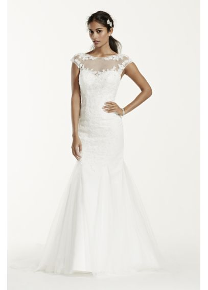 Tulle Over Satin Wedding Dress with Cap Sleeve  WG3717