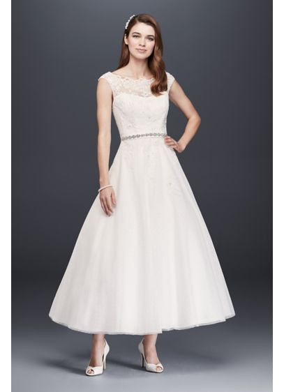 Tea Length Tulle Illusion Neckline Wedding Dress | David's ...