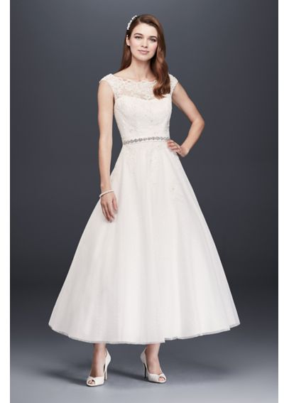 Tea Length Tulle Illusion Neckline Wedding Dress WG3721