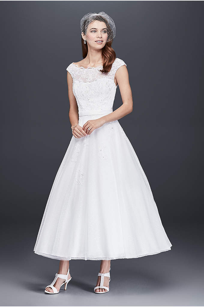 Tea Length Tulle Illusion Neckline Wedding Dress - This gorgeous tea length gown is the definition