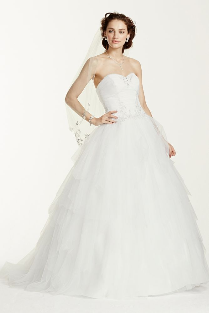 Jewel strapless tiered tulle wedding dress style wg3722 ebay for David s bridal tulle wedding dress
