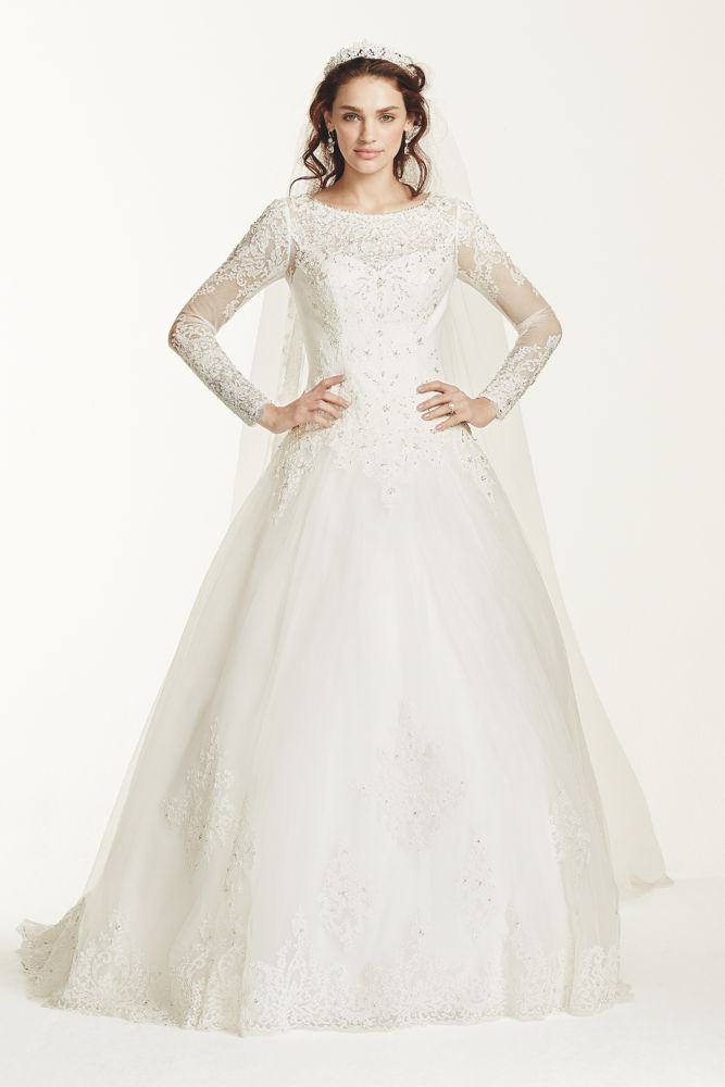 Jewel long sleeve drop waist tulle wedding dress style for Tulle wedding dress with sleeves
