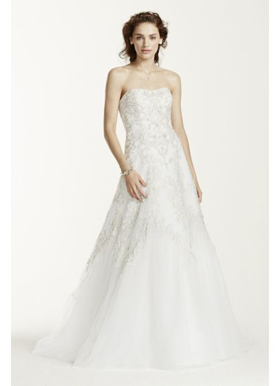 Jewel Tulle A-Line Wedding Dress with Lace Detail | David\'s Bridal