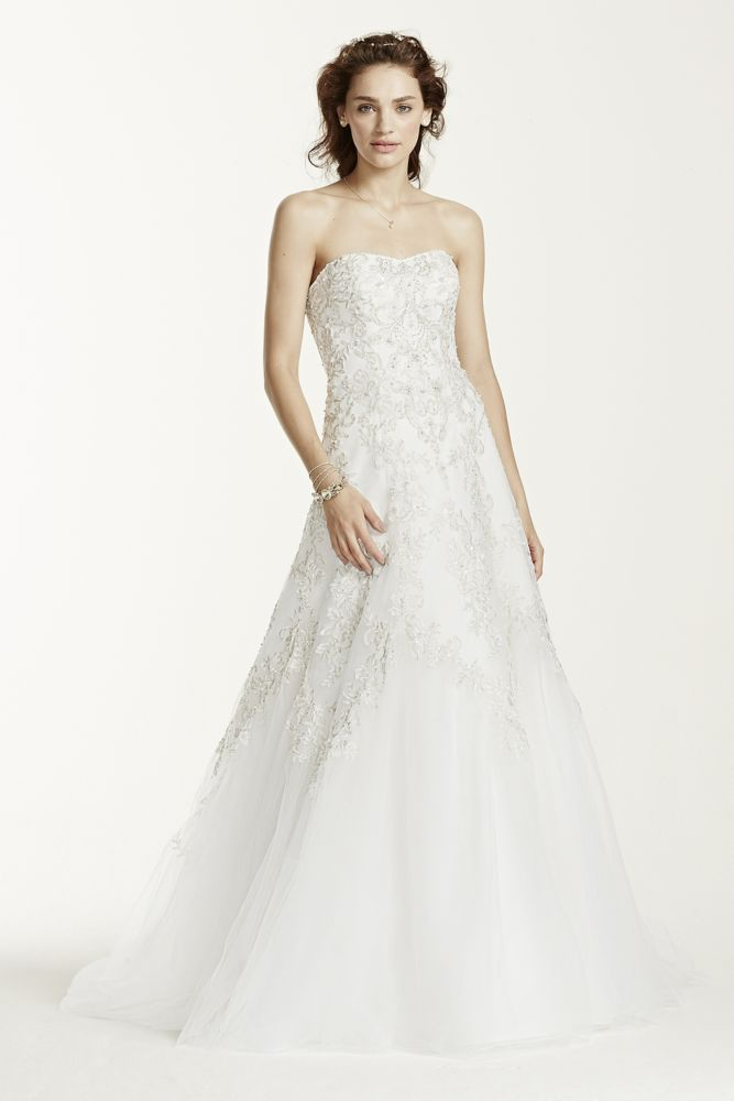 Jewel tulle a line wedding dress with lace detail style for Want to sell my wedding dress