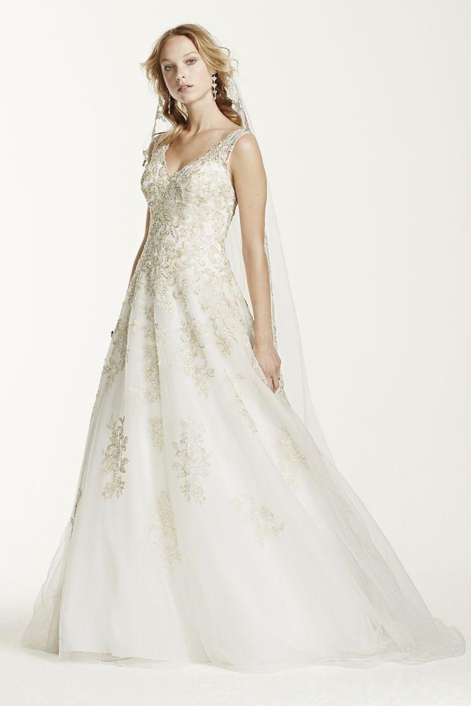 Jewel tank tulle v neck beaded wedding dress style wg3730 for Wedding dresses with gold beading