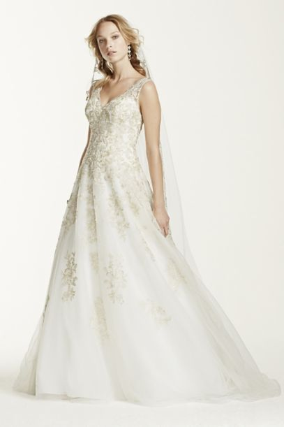 Jewel Tank Tulle V-Neck Beaded Wedding Dress | David's Bridal