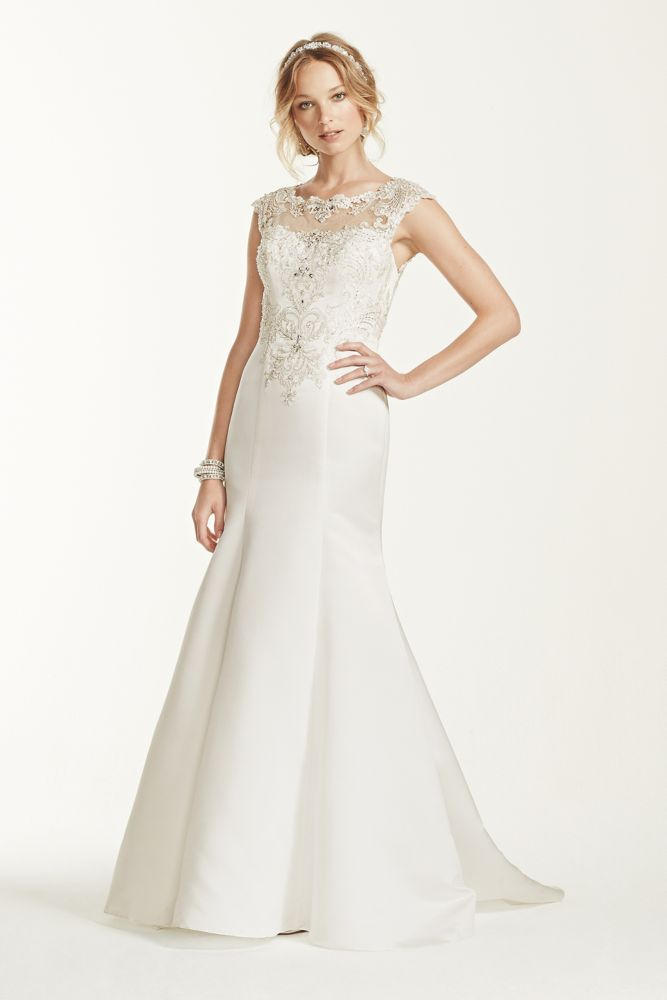 Jewel cap sleeve illusion neck wedding dress style wg3731 for Jewel neckline wedding dress