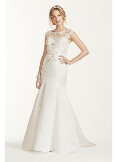 Jewel cap sleeve illusion neck wedding dress davids bridal for Jewel neckline wedding dress