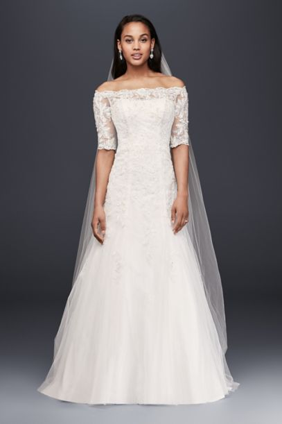 Jewel Off The Shoulder 3 4 Sleeve Wedding Dress David S