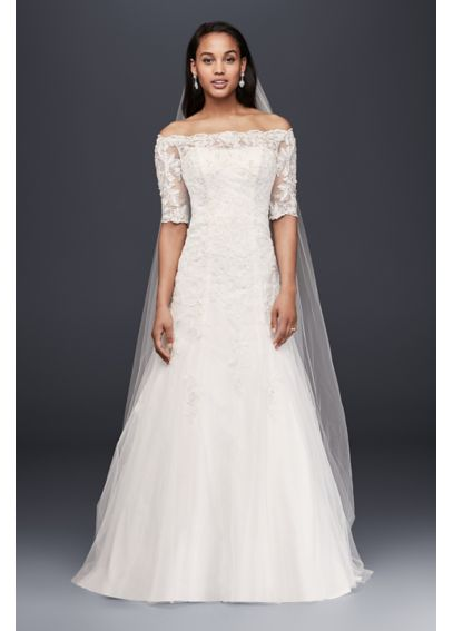 Jewel off the shoulder 3 4 sleeve wedding dress davids for Wedding dress off the shoulder