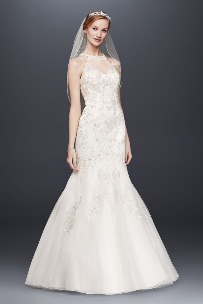 jewel lace and tulle illusion neck wedding dress style wg3735