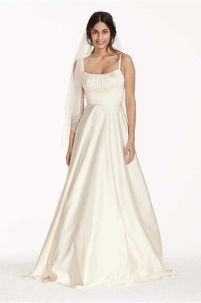 Satin Empire Wedding Dress with Spaghetti Straps - Inspired by Angelina Jolie's minimalist wedding dress, this
