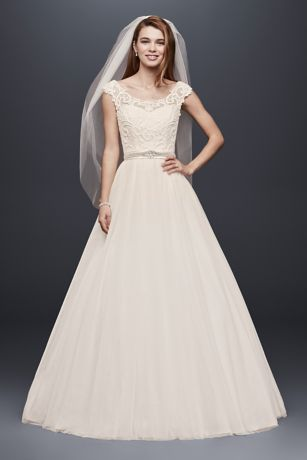 Tulle Wedding Dress with Lace Illusion Neckline Davids Bridal