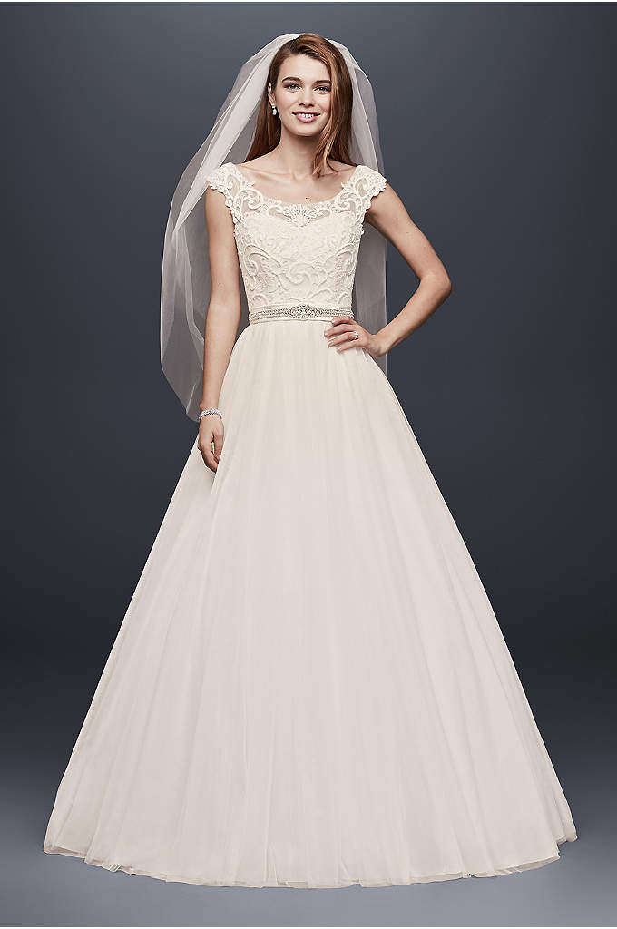 Tulle Wedding Dress with Lace Illusion Neckline - The scroll lace that adorns the bodice of