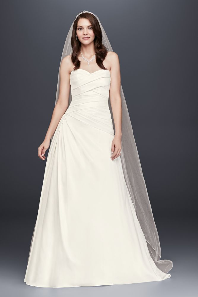 David 39 s bridal strapless a line drop waist wedding dress for Wedding dresses with ruching and dropped waist
