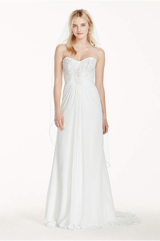 Strapless Chiffon Sheath Wedding Dress with Lace - Look effortlessly gorgeous in this crinkle chiffon sheath