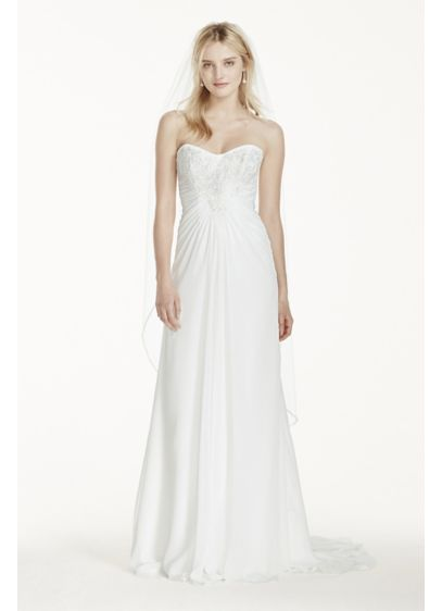 Strapless chiffon sheath wedding dress with lace davids for Davids bridal beach wedding dresses