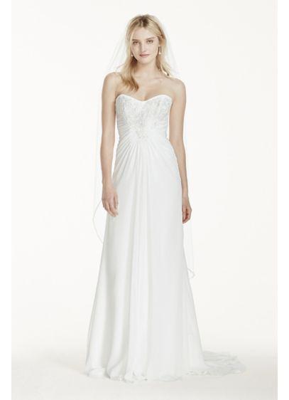 Strapless chiffon sheath wedding dress with lace david 39 s David s bridal strapless wedding dress