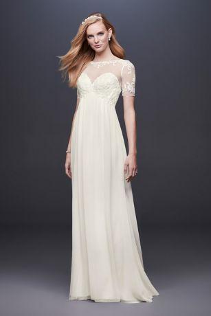 lace over chiffon wedding dresses